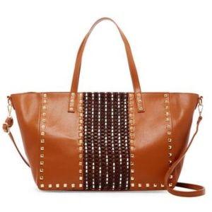 NWT Oversized Gold Studded Shoulder Tote Bag